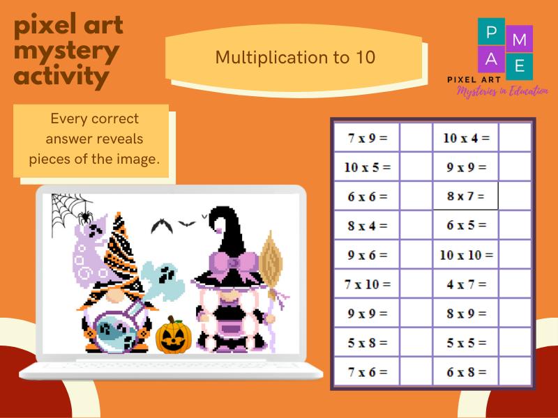 Multiplication to 10 Pixel Art - Halloween Gnomes