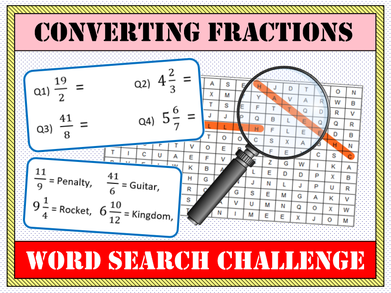 🍰 Converting Fractions (Mixed & Improper) Word Search 🔎