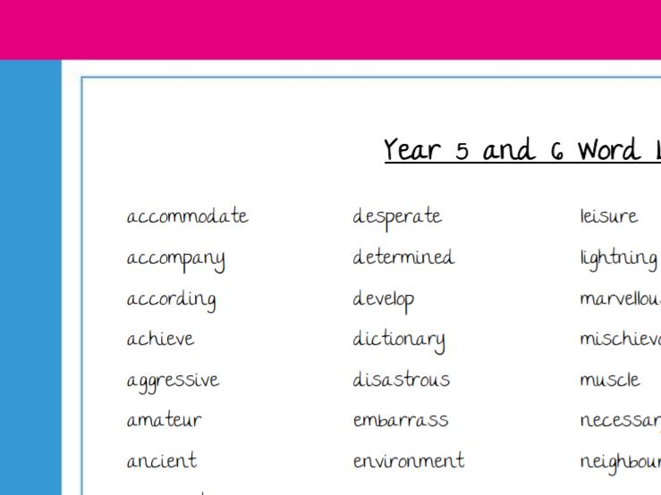 Spelling Word List Y5 & 6 - NC