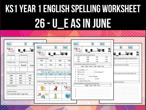 Spelling & Phonics Worksheet - uː sound spelled U_E