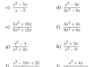 6 Worksheets on Algebraic Fractions