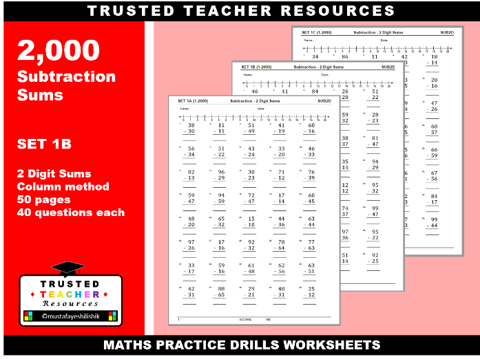2000 Subtraction Sums- 2 Digit Sums (SET 1-B)