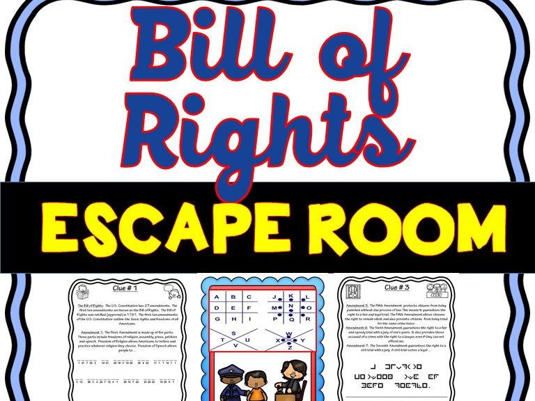 U.S. Bill of Rights Escape Room - No Prep!