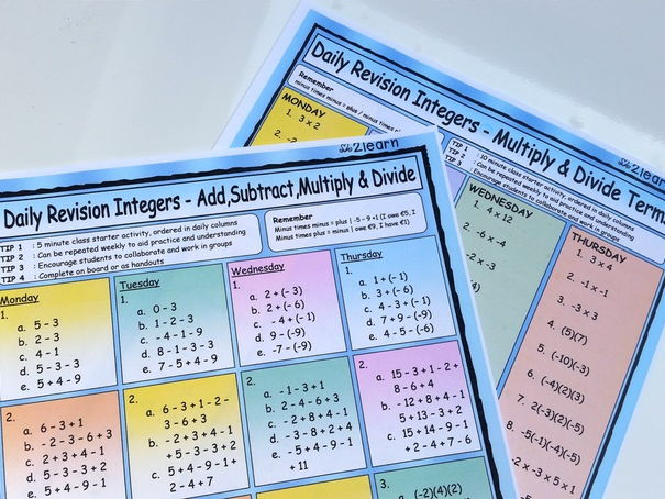 Maths Daily Revision Worksheets - INTEGERS -  FULL SET - Add  |  Subtract  |  Multiply | Divide etc
