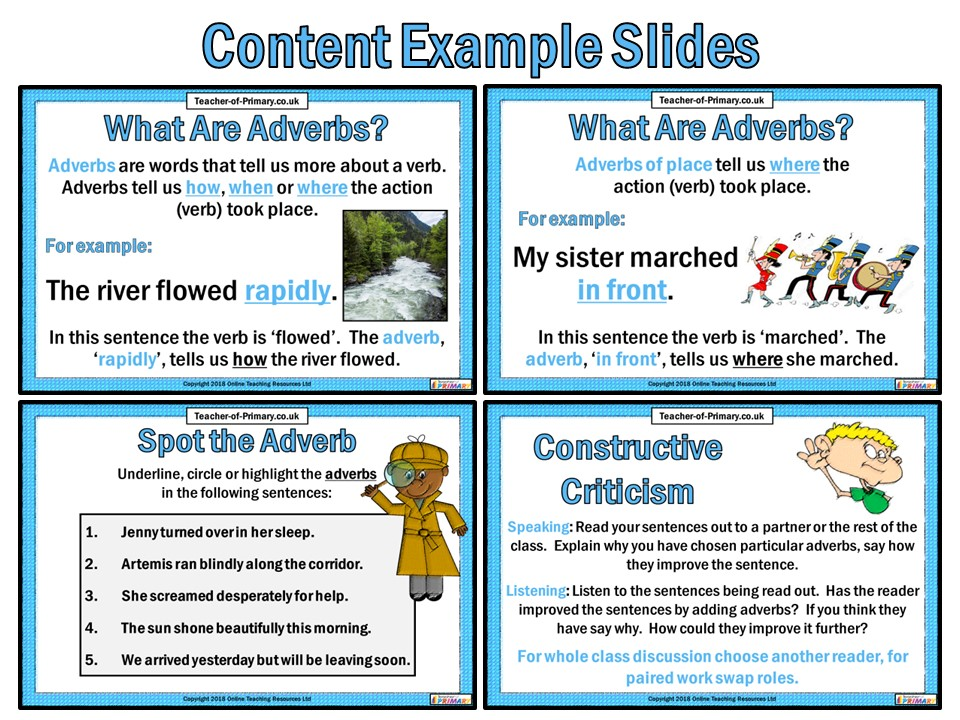 Adverbs - PowerPoint teaching resource