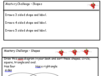 Five weeks of differentiated chilli challenges maths