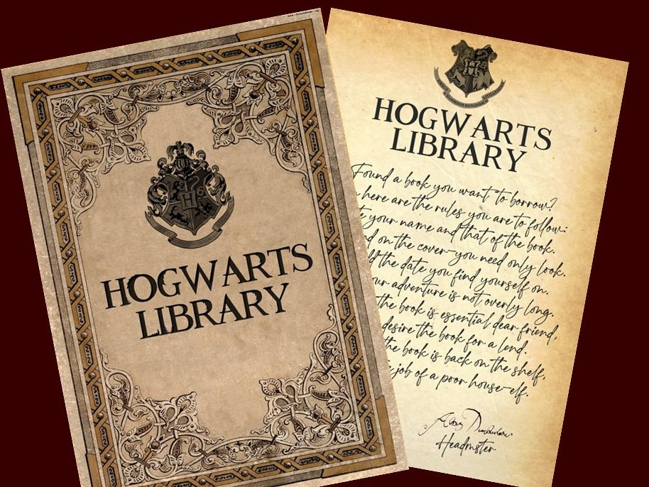 Hogwarts Library Book Sign out Record sheet