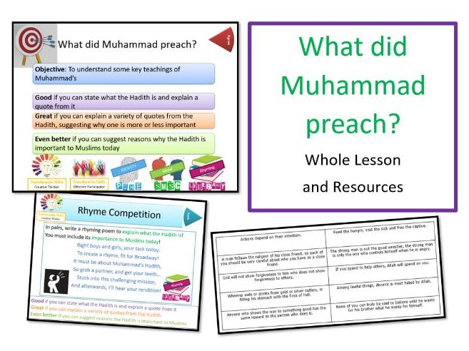 What did Muhammad Preach (Hadith) - Whole Lesson as part of 'Who Was Muhammad?' Unit