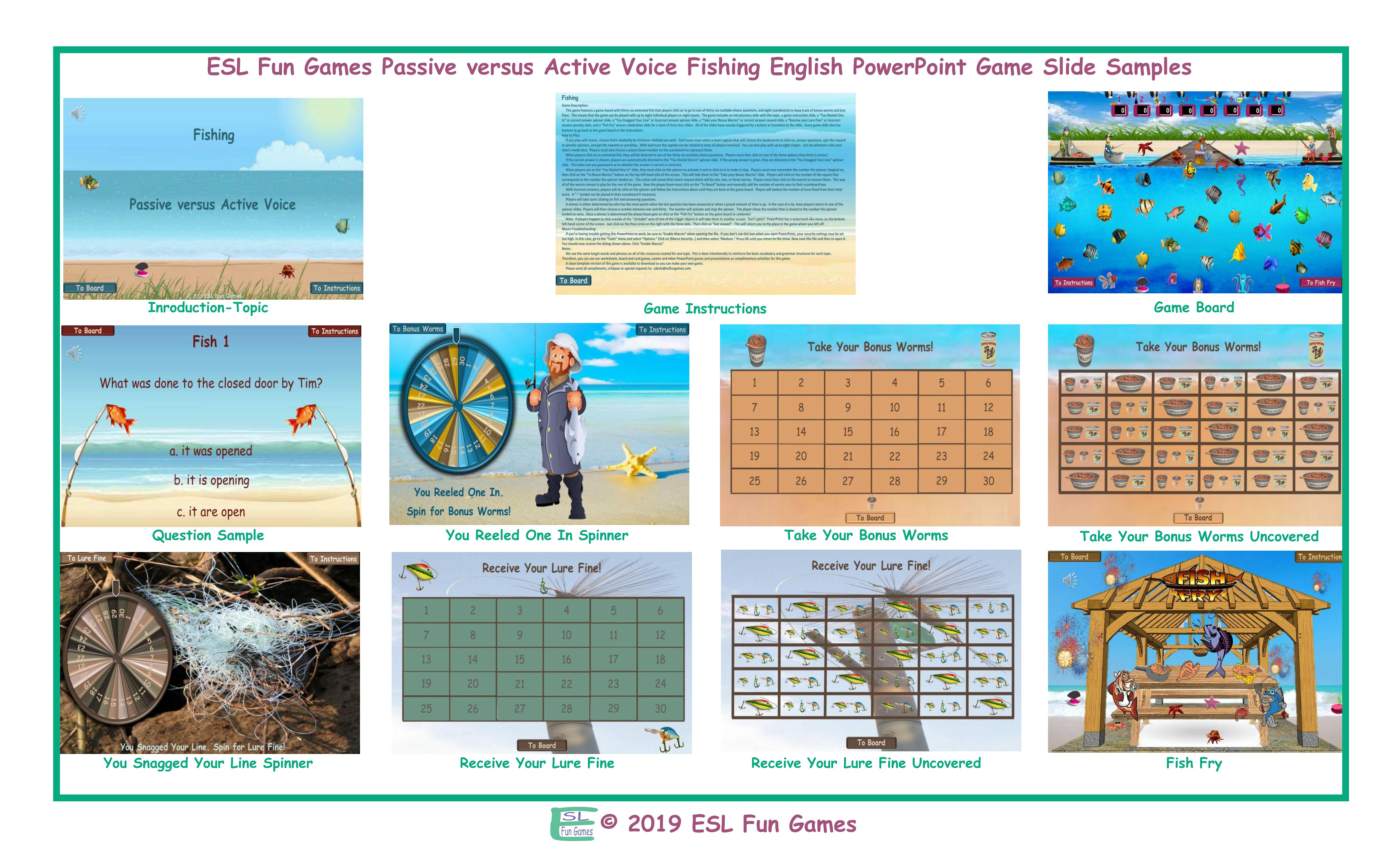 Passive versus Active Voice Fishing Interactive English PowerPoint Game