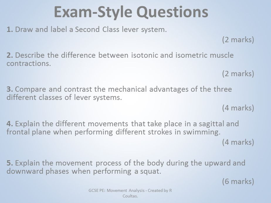 AQA GCSE PE (9-1) Movement Analysis Exam Questions with Mark Scheme