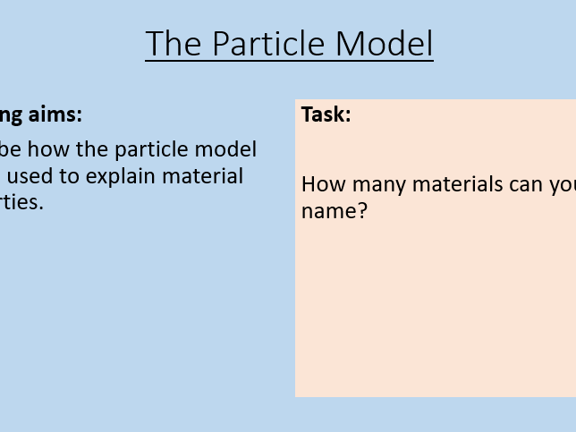 KS3 The Particle Model