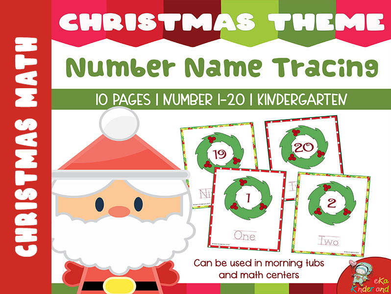 Christmas Wreath  Number Name Tracing Mats