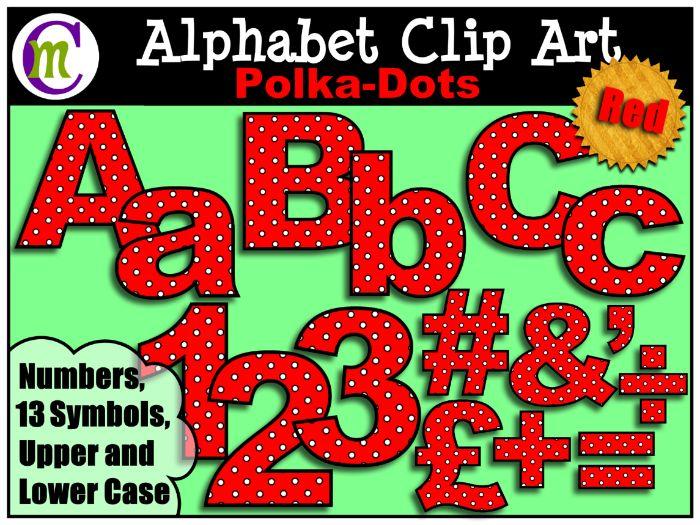 Alphabet Letters Clip Art Red Polka-Dot