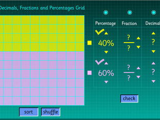Decimals, Fractions and Percentages Grid