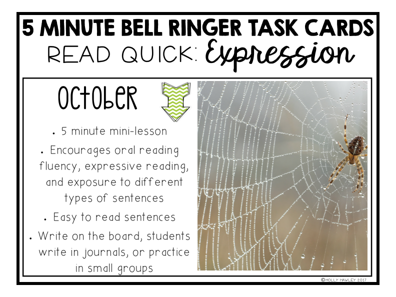 Read Quick Bell Ringer Task Cards-OCTOBER