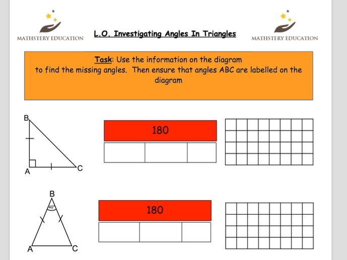 Angles in a triangle - bar modelling