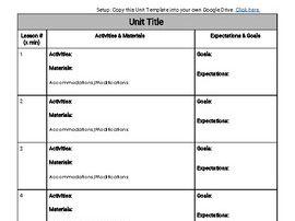Simple Unit Plan Template (Editable in Google Docs)