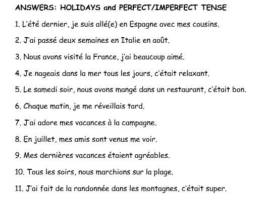GCSE French translation perfect/imperfect tense
