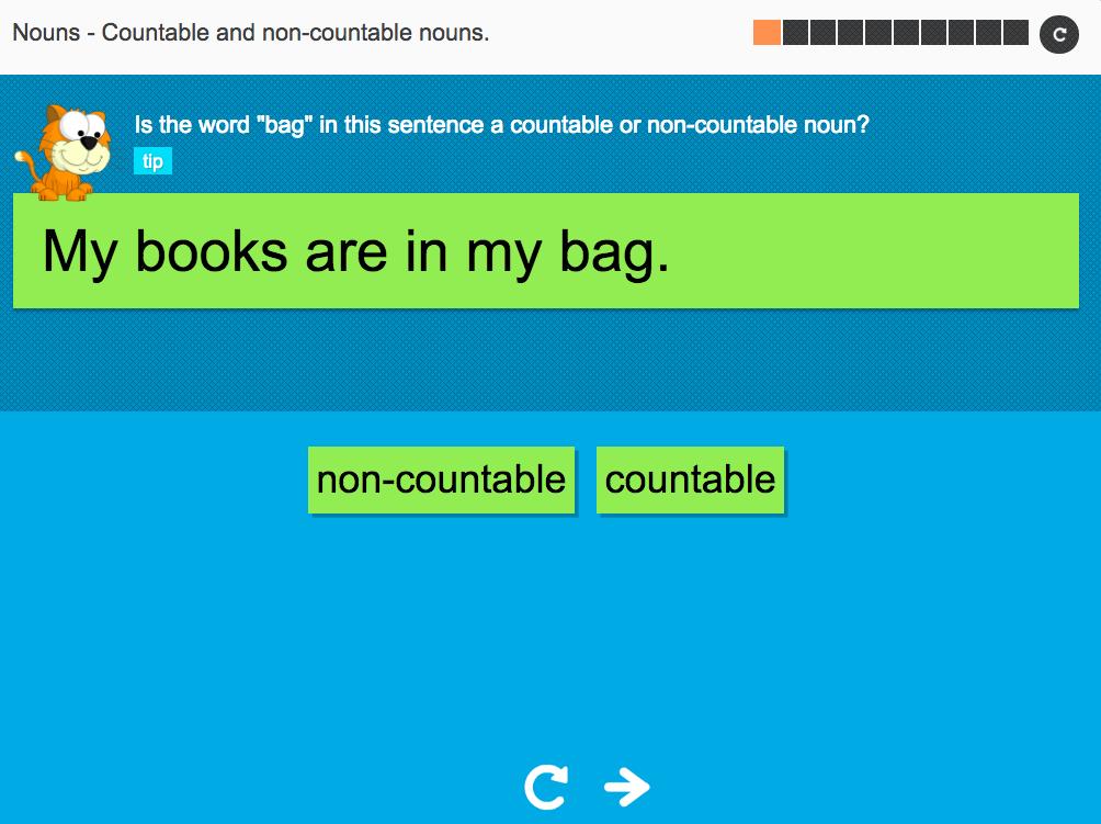 Countable and non-countable nouns Set 1 - Interactive Activity - KS3 Spag