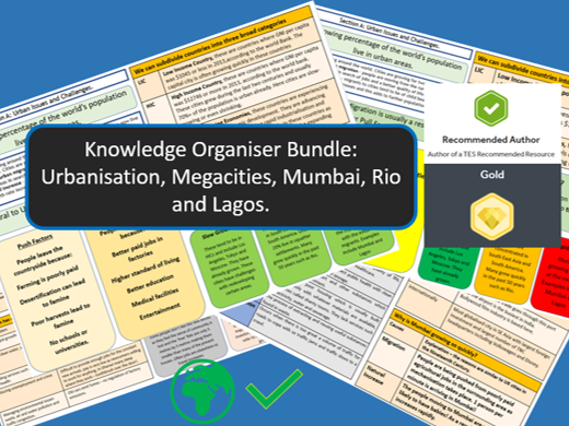 AQA GCSE 9-1 : Megacities Knowledge Organisers and Revision Summaries, Case Study Bundle