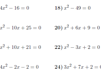 Solving quadratic equations by factorising worksheet (with solutions)
