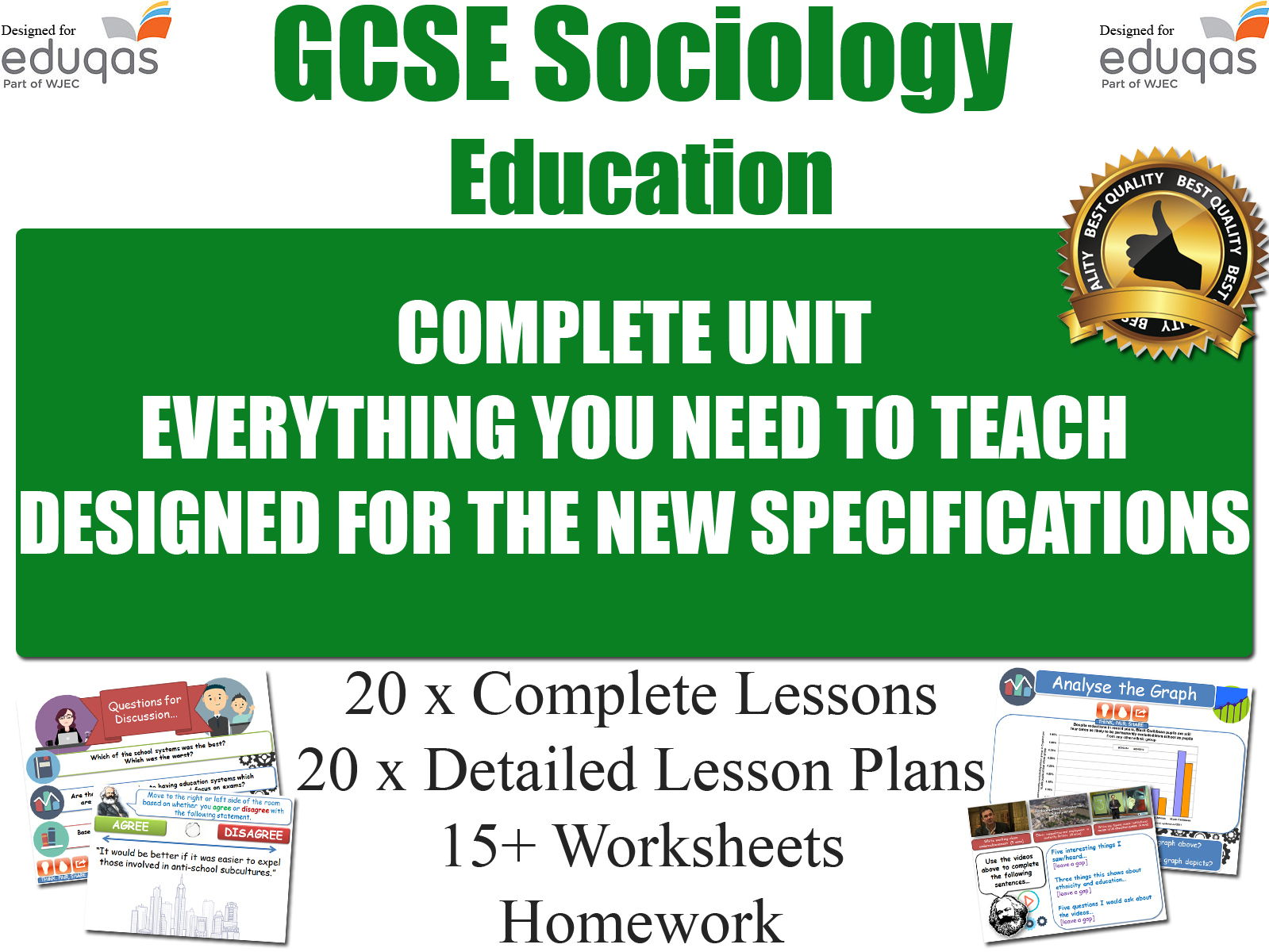 EDUCATION (20 Lessons) WJEC / EDUQAS [ GCSE Sociology ] NEW 2017