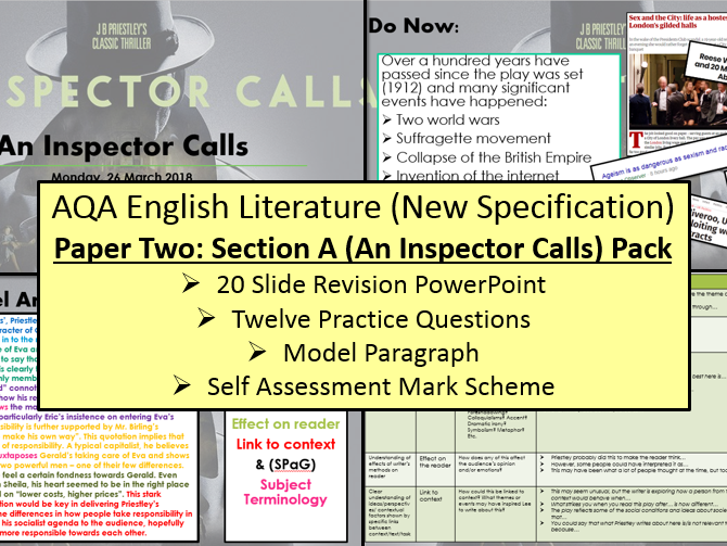 English Literature Paper Two - Section A: An Inspector Calls Exam Questions (AQA, 9-1 GCSE)