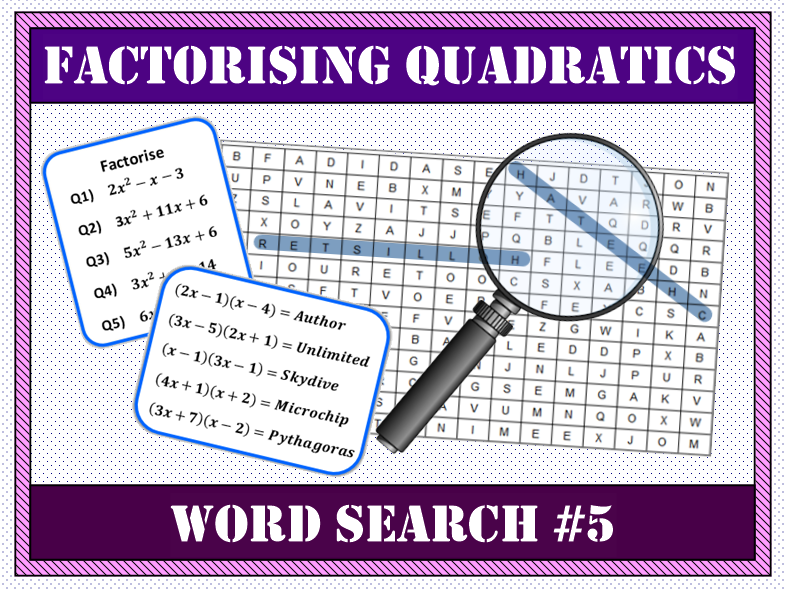 ✏️ Factorising Quadratics Word Search #5 🔎