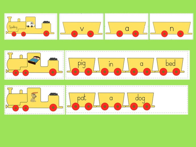 Phonics train - Phase 2 letters and sounds; CVC words, Segmenting for Spelling, Reading captions.