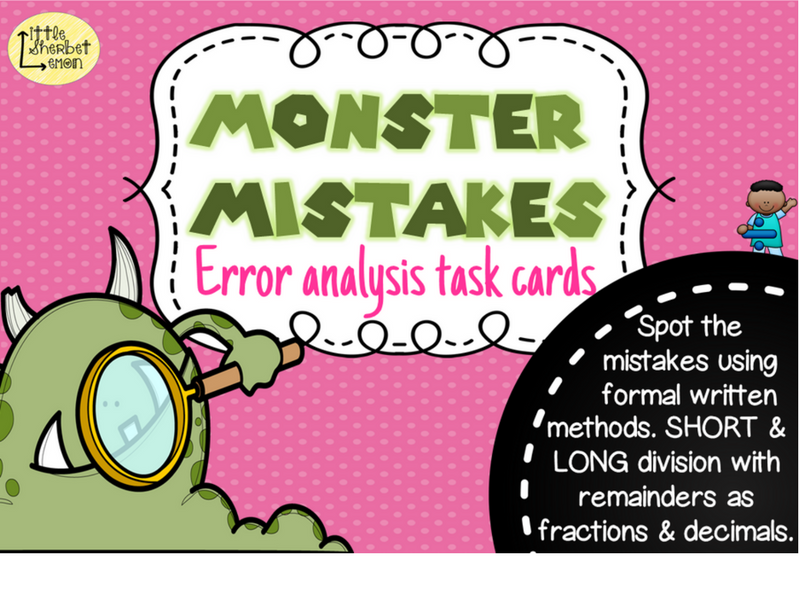 Error Analysis / Spot the Mistake Task Cards for Written Division Methods Yr 5 & 6