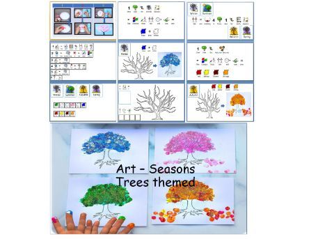 Autumn themed art - Step by step art seasion for SLD learners - Four Seasons Tree  widgit symbolised