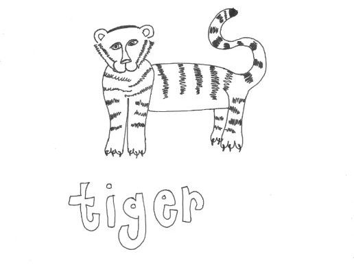 Tiger: Animals and Pets: Colouring Page