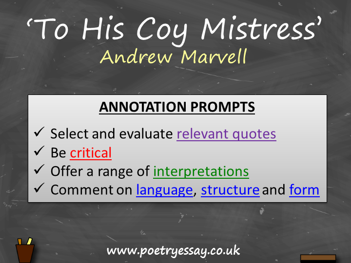 Andrew Marvell – 'To His Coy Mistress' – Annotation / Planning Table / Questions / Booklet