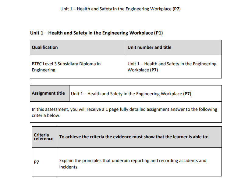 BTEC Level 3 Engineering: Unit 1 (P7) – Health and Safety in the Engineering Workplace