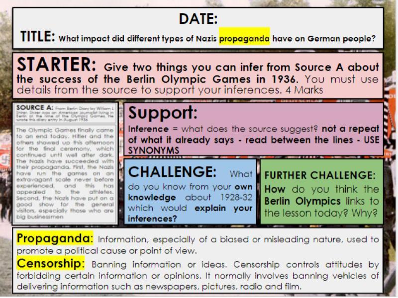 Edexcel 9-1 History GCSE: Paper 3 Germany: KT3 Lesson 3: Nazi Propaganda: Q3a Guidance