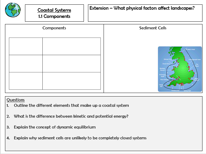 OCR A Level Geography Revision Coasts Physical Systems