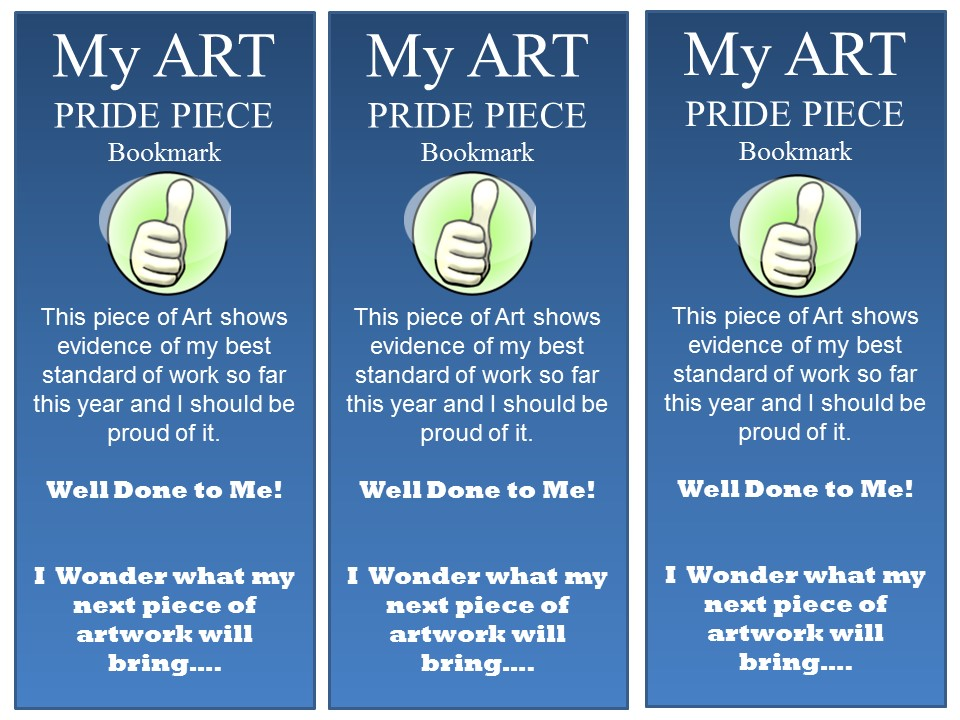Art Pride Piece Bookmark (Can adapt to use in any subject)