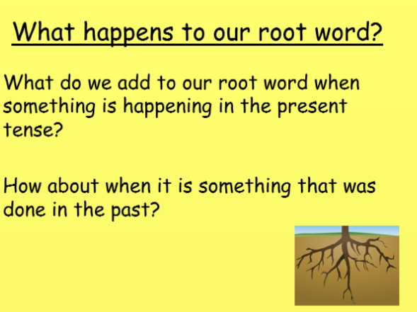Year 1- using correct tenses and adding the correct suffix to the root word.
