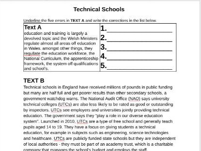 WJEC GCSE English Reading Resources with proof reading task