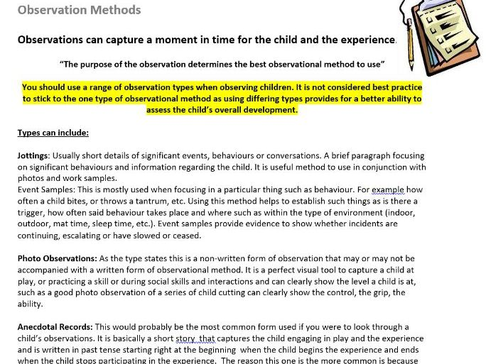 Childcare Observation Methods Worksheet & Explanation - Childcare & CACHE Students