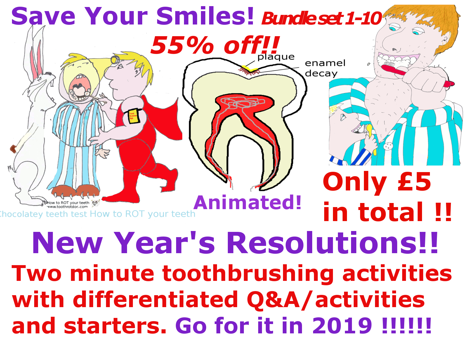 New Year's Resolutions! Complete set of 14 two minute toothbrushing educational animated activity