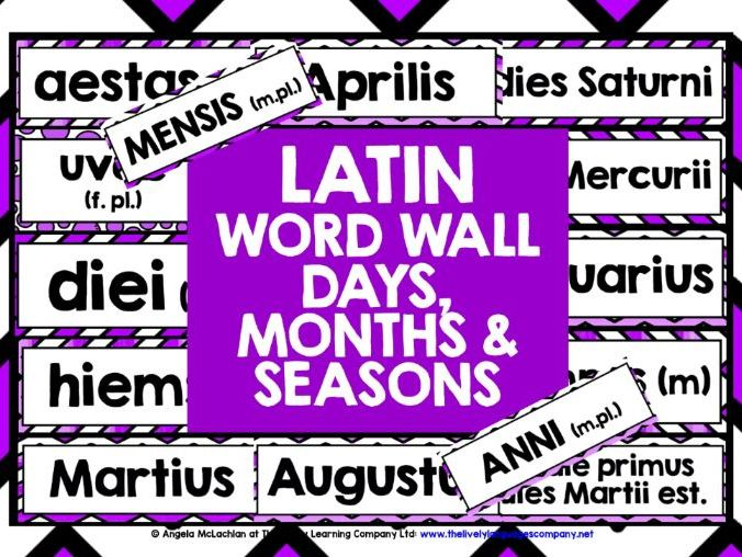 PRIMARY LATIN DAYS MONTHS SEASONS DISPLAY WORD WALL