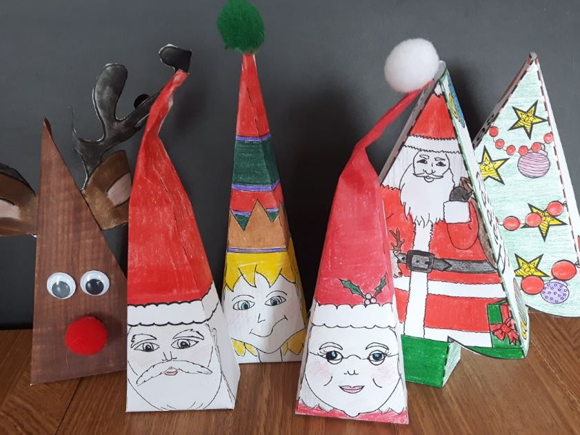 Christmas Crafts - Reindeer, Elf, Santa and Mrs. Claus, 2 Tree Boxes