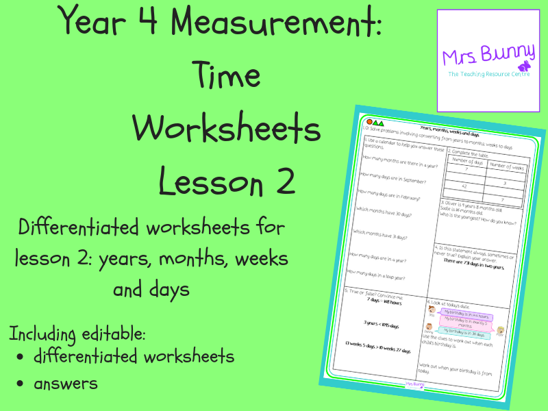2. Time: years, months, weeks and days worksheets (Y4)