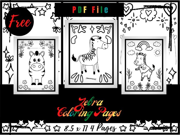 FREE Zebra Colouring Pages For Kids, Colouring Sheets PDF, Free Wildlife Animals Printable