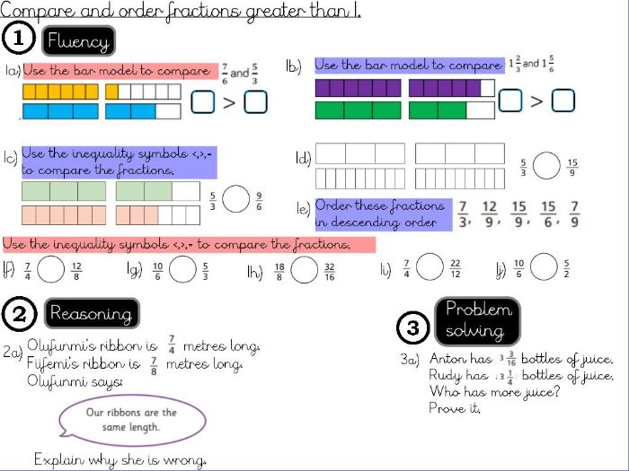 Fractions- Compare and order fractions greater than 1 - Year 5