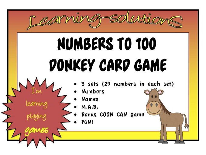 NUMBERS, NAMES, MAB to 100 - DONKEY CARD GAME