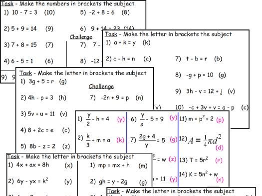 Rearranging Formula equations