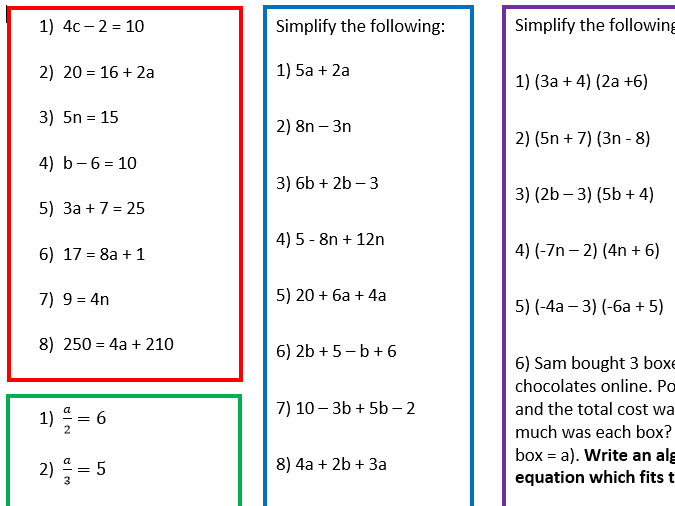 3 Differentiated Algebra Worksheets