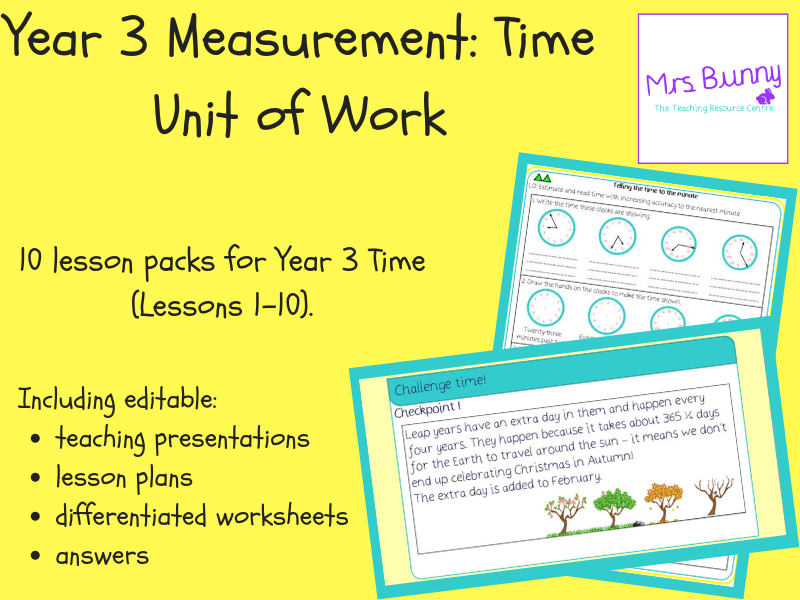 Year 3 Measurement: Time Unit Pack